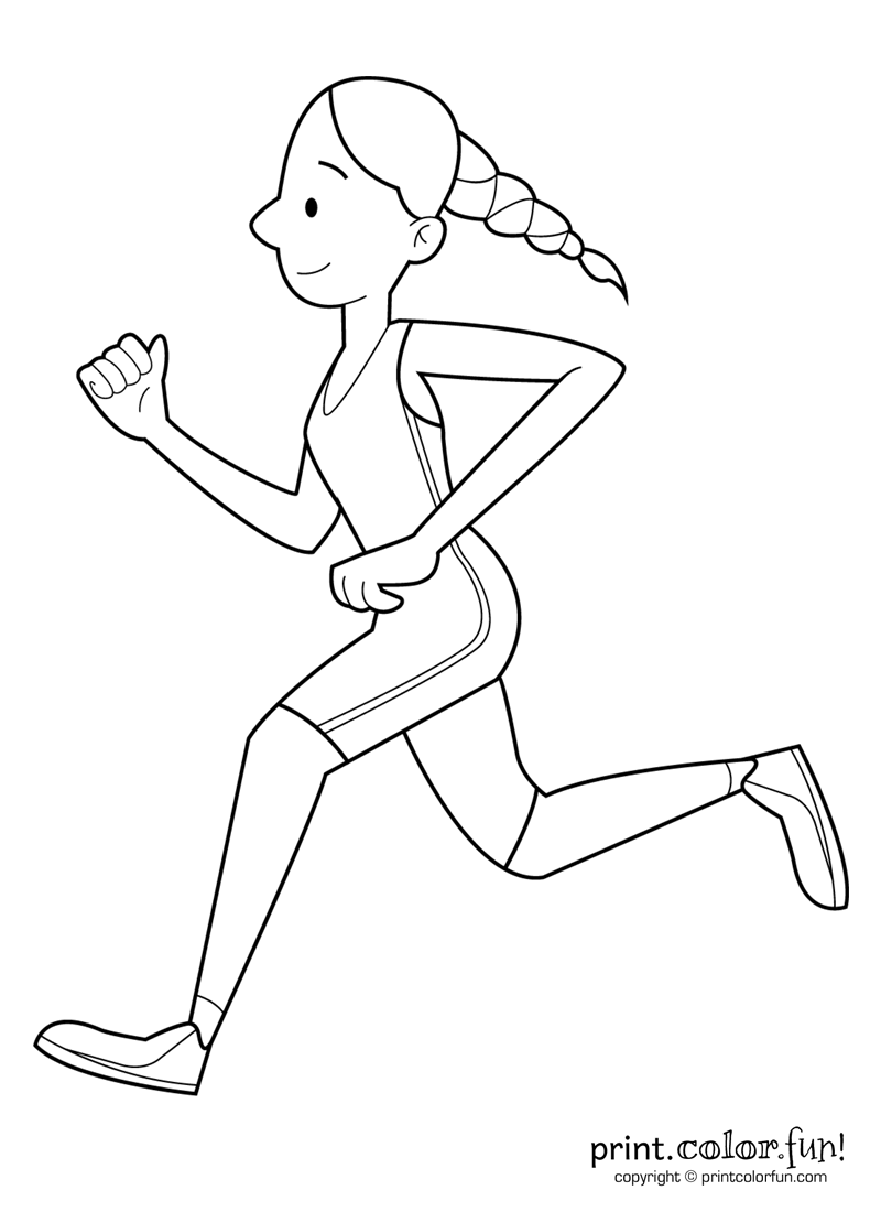 800x1100 Happy Girl Running Coloring Page