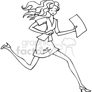 300x300 Royalty Free Black And White Image Of A Women Running 385704