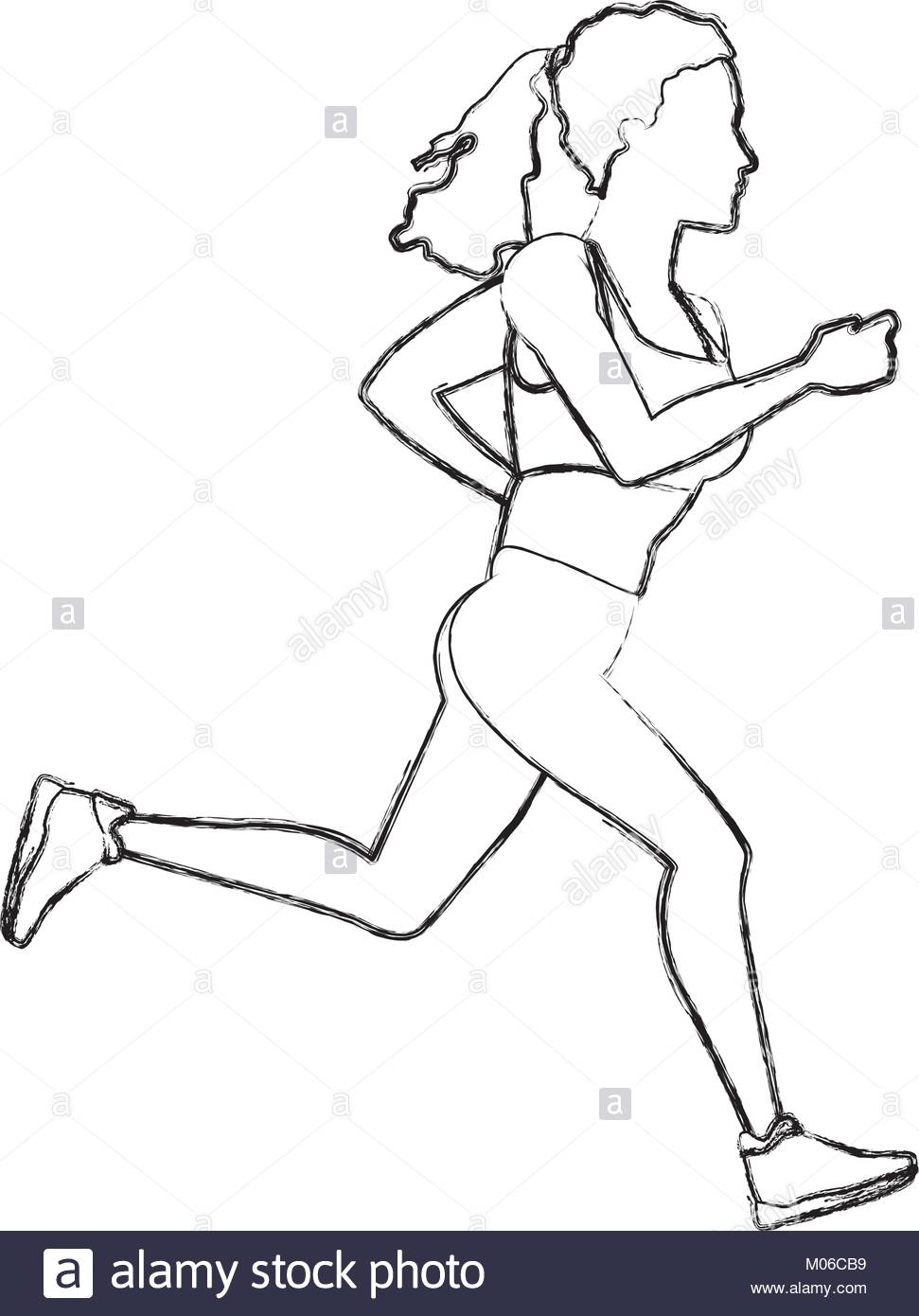 971x1390 Sketch Runner Woman Stock Photos Amp Sketch Runner Woman Stock
