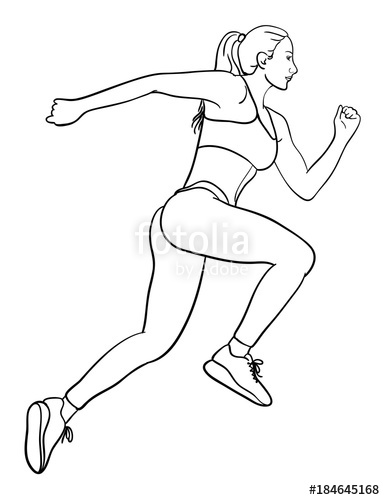 385x500 Woman Running Line Art. Good Use For Symbol, Logo, Web Icon