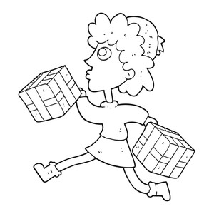 300x300 Freehand Drawn Black And White Cartoon Running Woman With Presents