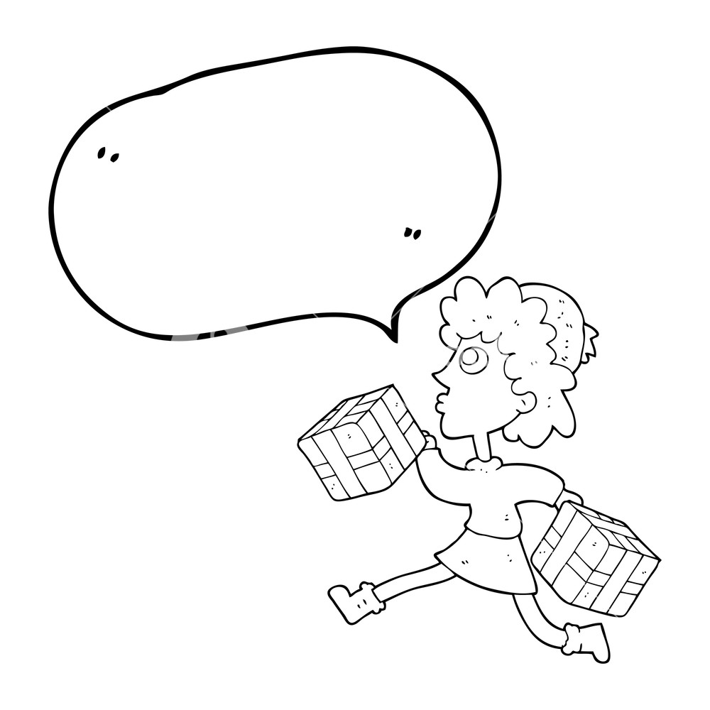 1000x1000 Freehand Drawn Speech Bubble Cartoon Running Woman With Presents