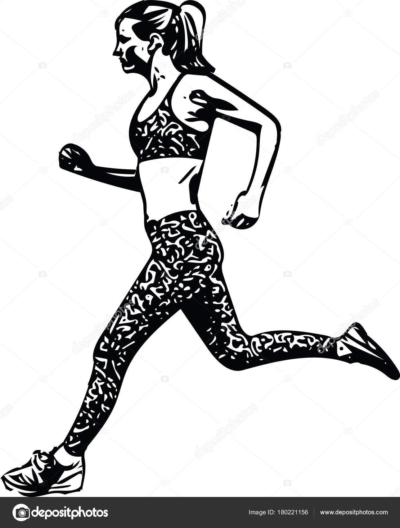 1289x1700 Drawing Of Running Woman Silhouette Stock Vector Aroas