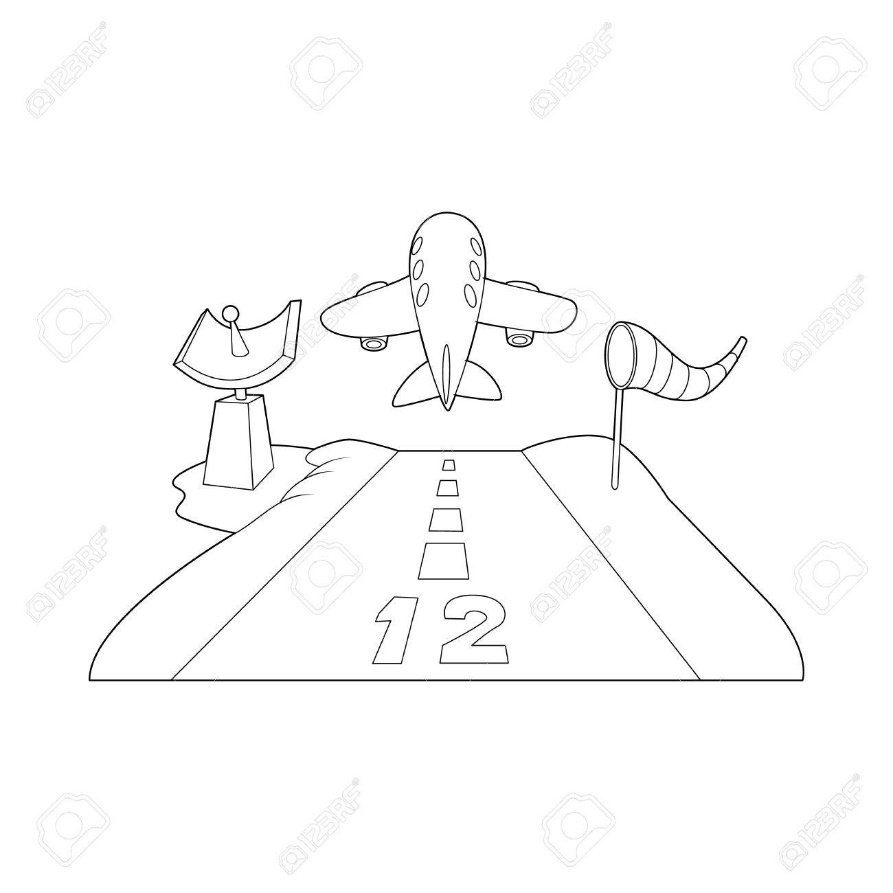 1300x1300 Runway Icon In Outline Style Isolated On White Background. Airport