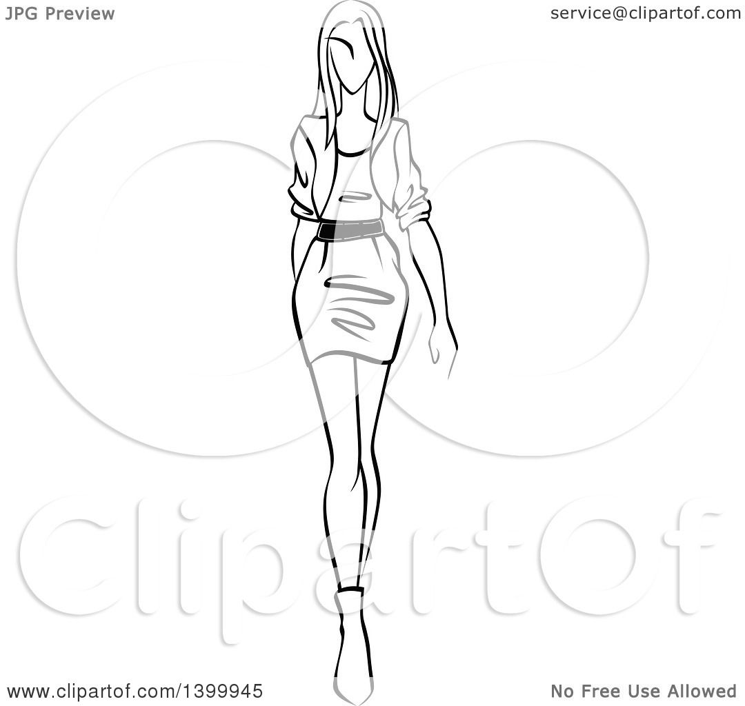 1080x1024 Clipart Of A Sketched Black And White Walking Runway Fashion Model