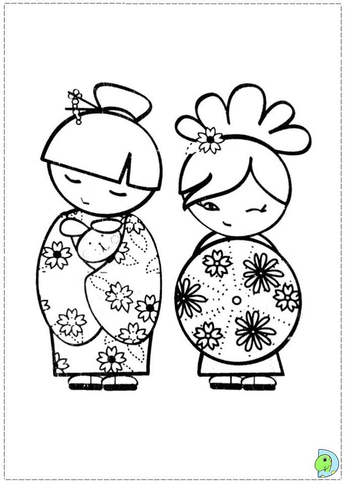 691x960 Kokeshi Dolls Coloring Page