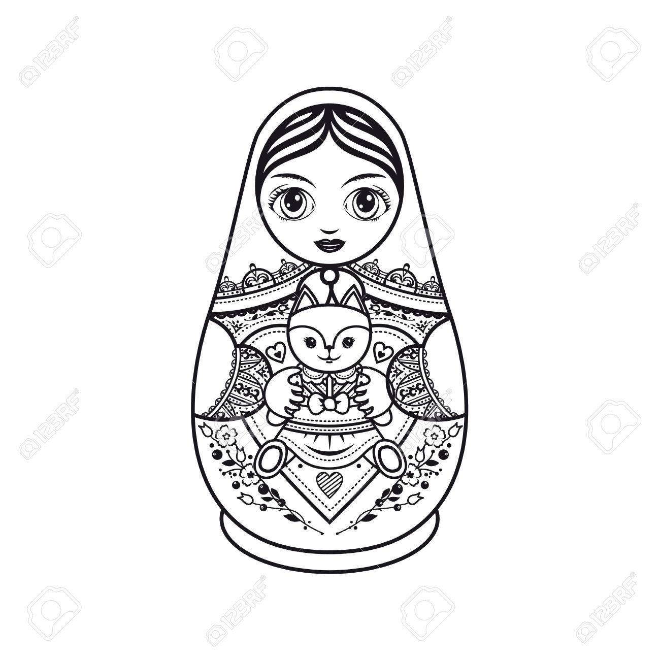 1300x1300 Matryoshka. Russian Folk Nesting Doll. Babushka Doll. Template