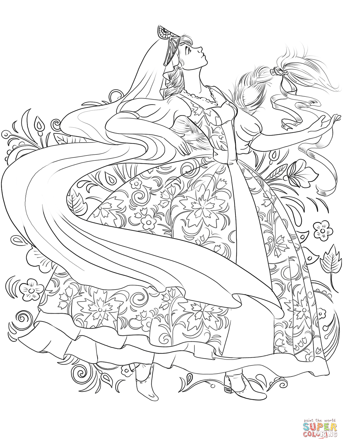 1159x1500 Russian Woman In A Traditional Dress Dancing Coloring Page Free