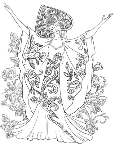 371x480 Woman In Russian Traditional Costume Coloring Page Free