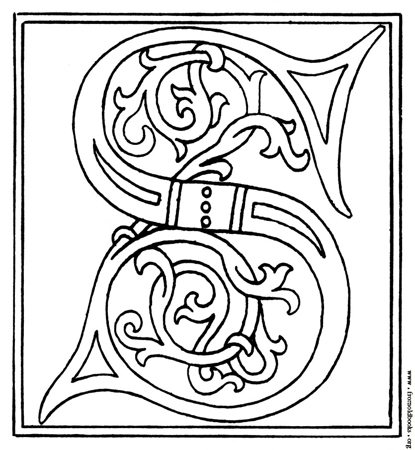 835x904 Clipart Initial Letter S From Late 15th Century Printed Book