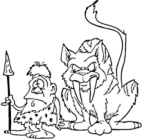 480x467 Saber Tooth Tiger And Caveman Coloring Page Free Printable