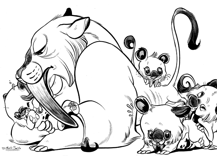 730x550 Saber Tooth Tigers By Pocketowl