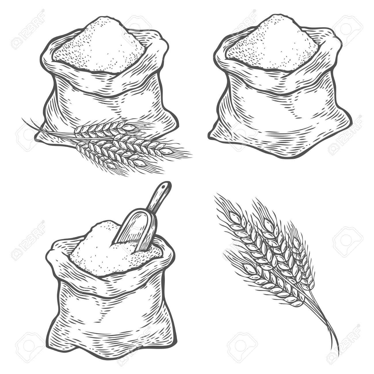 1300x1300 Sack With Whole Flour Or Sugar With Ear Wheat, Scoop. Hand Drawn