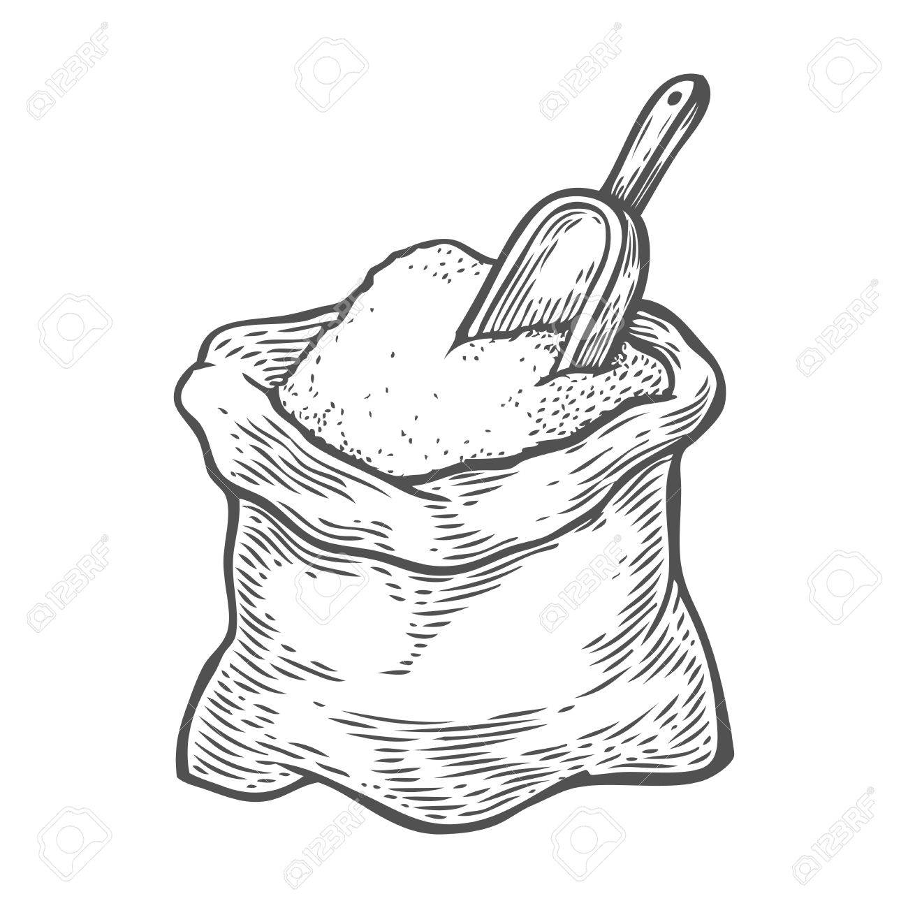 1300x1300 Sack With Whole Flour Or Sugar With Scoop. Hand Drawn Sketch