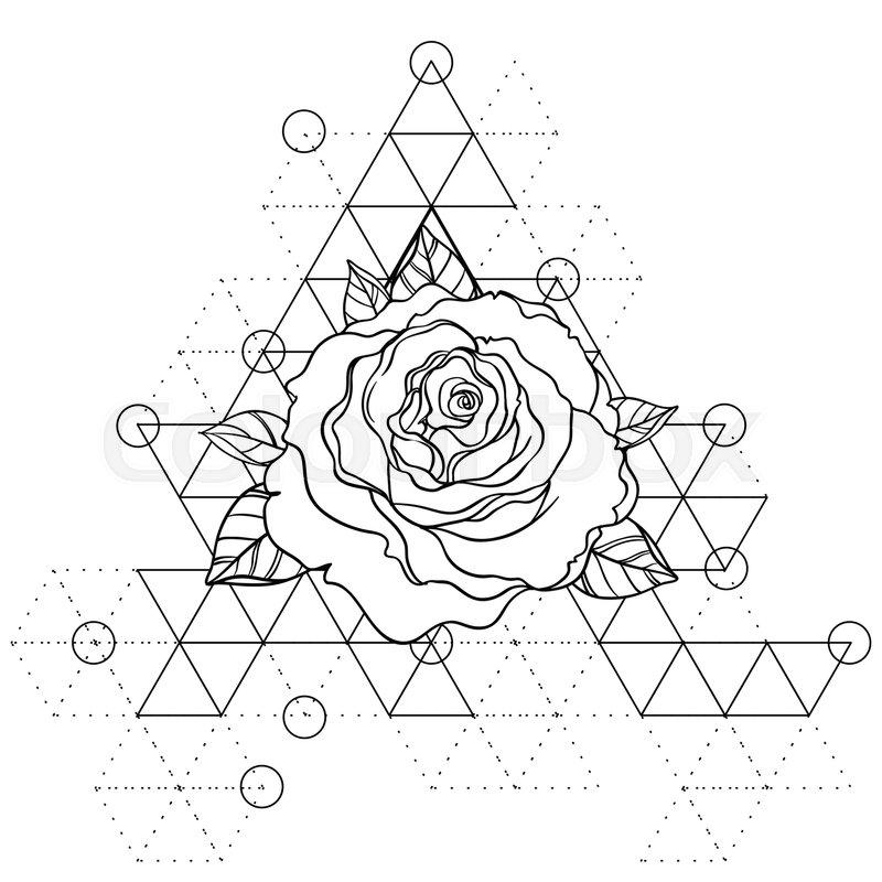 800x800 Blackwork Tattoo Flash. Rose Flower Over Sacred Geometry. Highly
