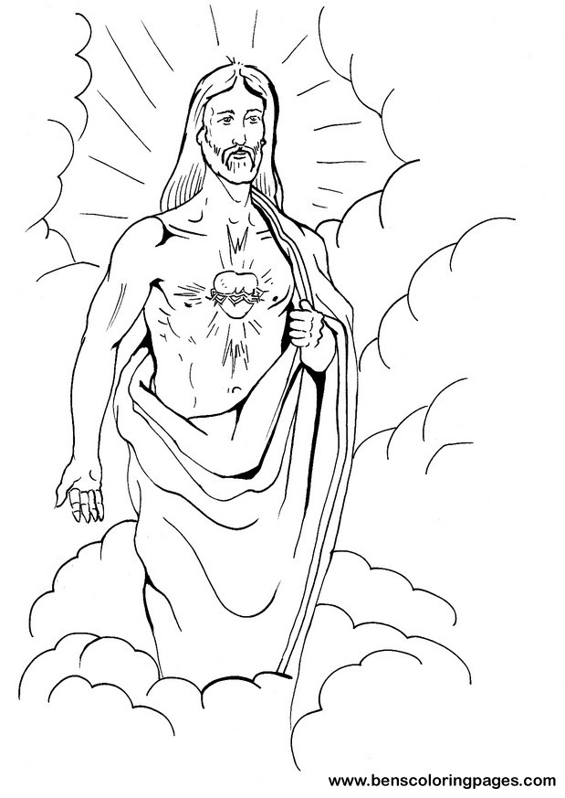 619x873 sacred heart of jesus coloring pages