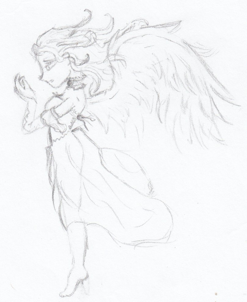 809x988 Sad Angel By Fallengabrielle
