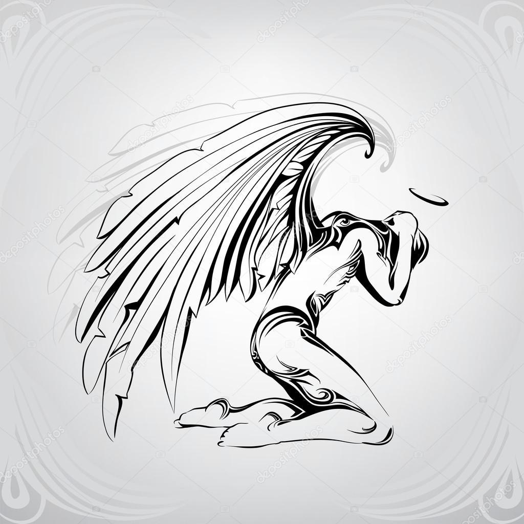 1024x1024 Sad Angel Silhouette Stock Vector Nutriaaa