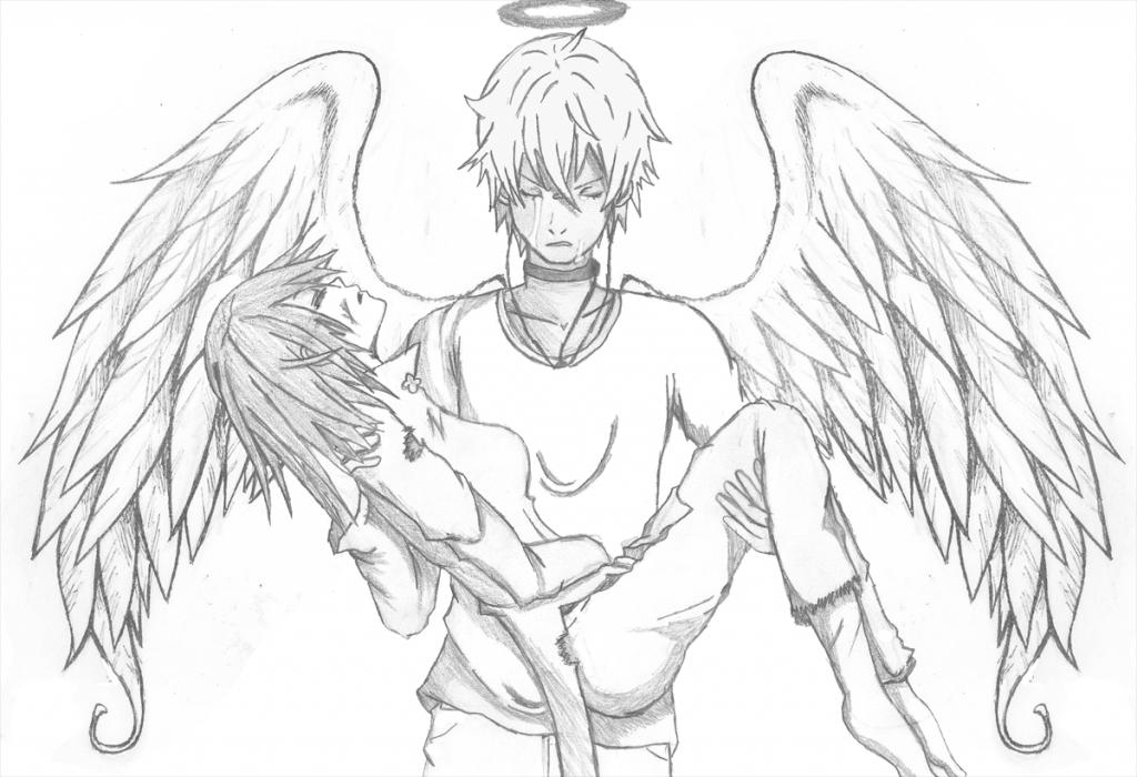 1024x700 Anime Angel Boy Wallpaper Cartoon Boys With Wings Polyvore, Sad