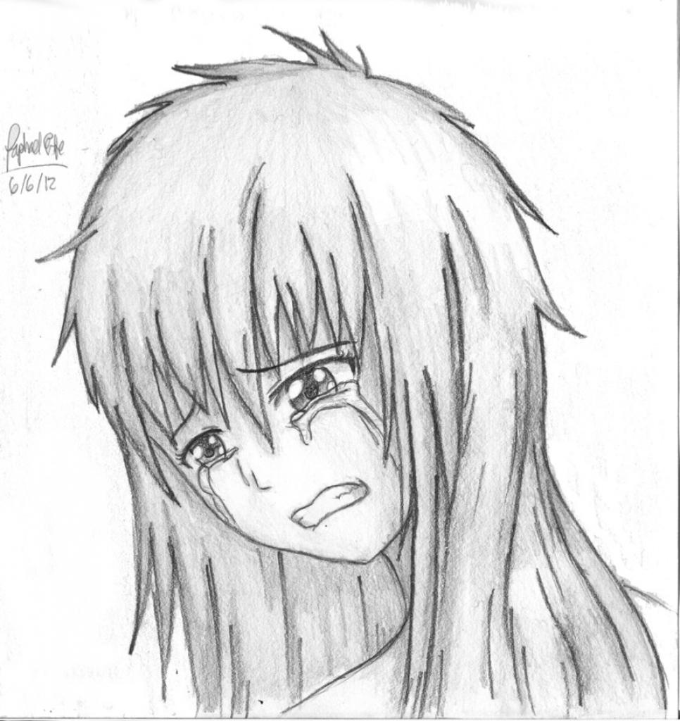 966x1024 Anime Crying Sketch Sad Anime Girl Crying Image Drawing Drawing