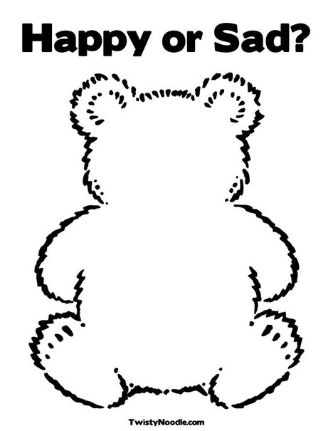 468x605 Happy Or Sad Teddy Bear Coloring Page Toddler Activities