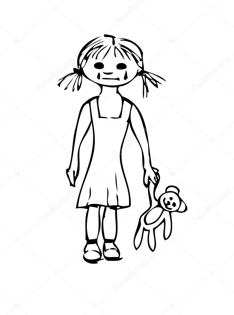 760x1023 Sad Little Girl With The Bears Stock Vector Mariangarai