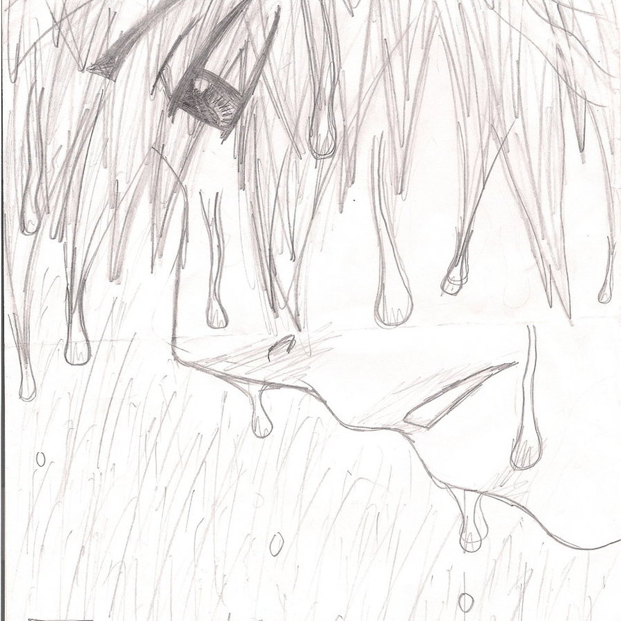 893x894 Drawn Boy Rain Sketch