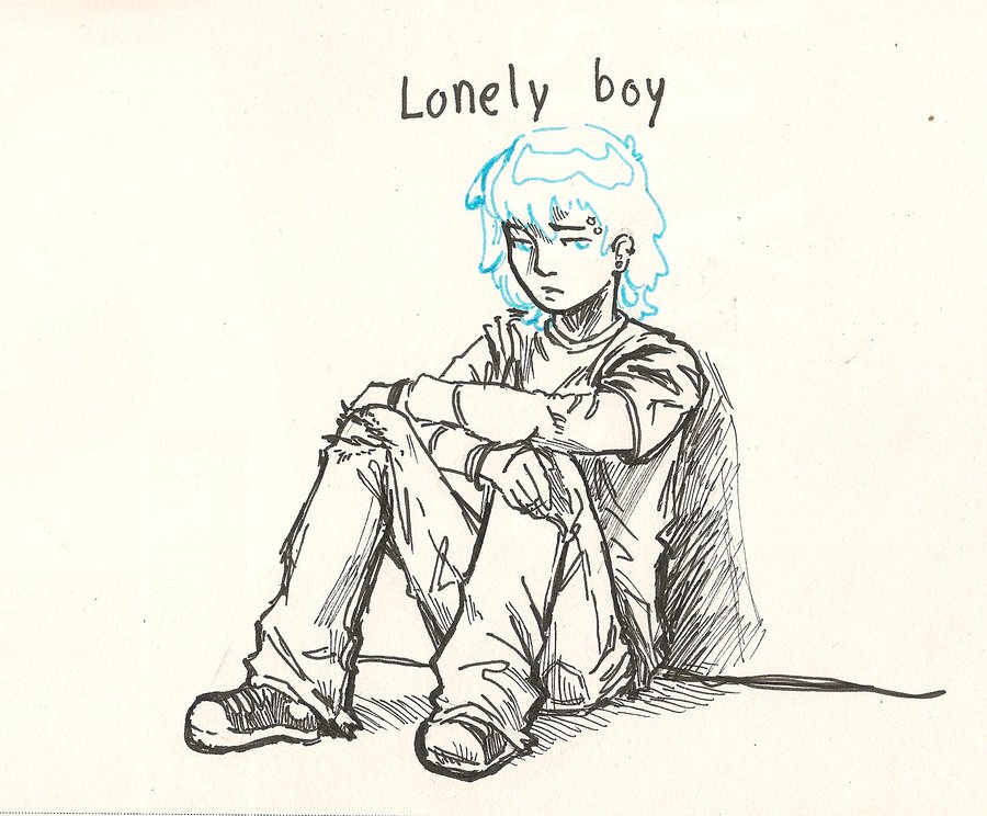 900x744 drawn lonely