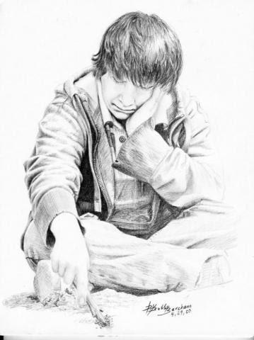 359x480 Graphite Pencil Portrait Sad Boy.