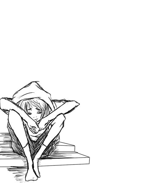 512x600 Sad Boy Stairs Sketch By Mechekin1