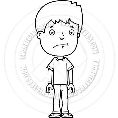 460x460 Cartoon Teen Boy Sad (Black And White Line Art) By Cory Thoman