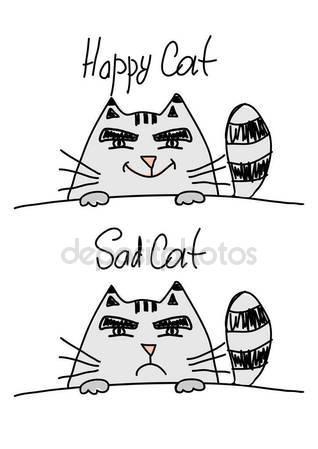 318x449 Happy Cat And Sad Cat Stock Vector Losw