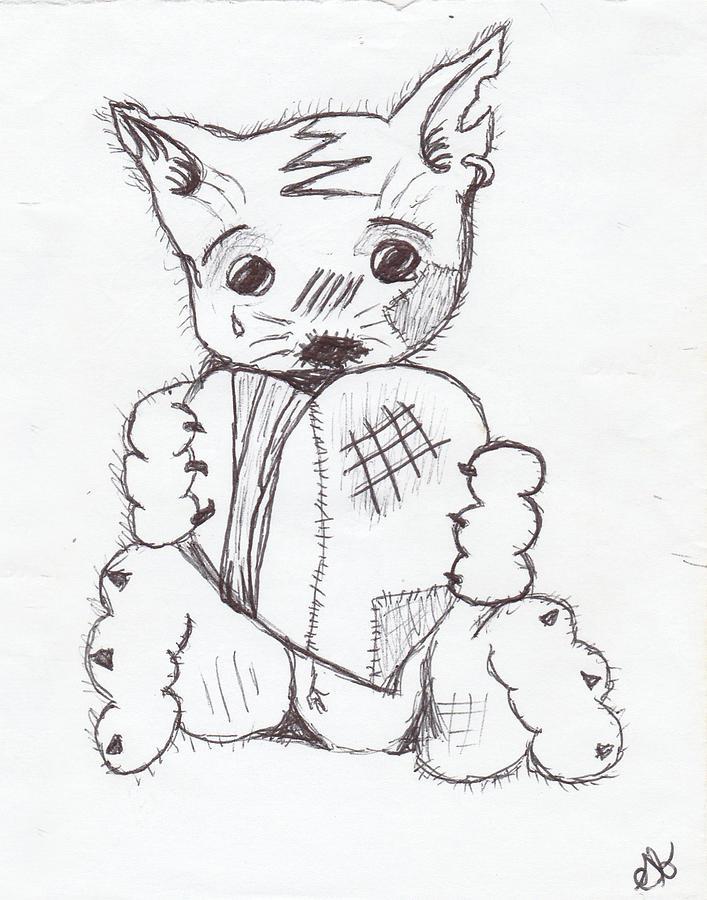 707x900 Sad Kitten Drawing By Shania Brown