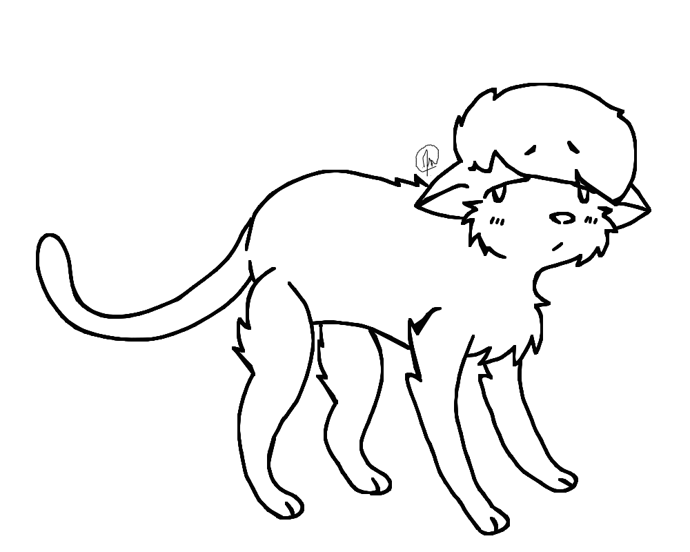 1000x800 Sad Cat Lineart By Dovepaw3000