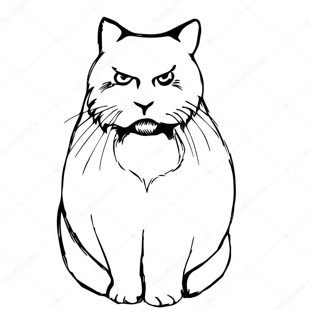 1024x1024 Angry Sad Cat Abstraction Stock Vector Mila Endo