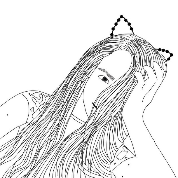 610x610 Art, Black And White, Cat Ears, Cute, Design, Draw, Drawing, Edit