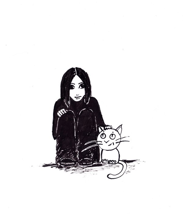 600x729 Sad Girl And Cat By Evaklo