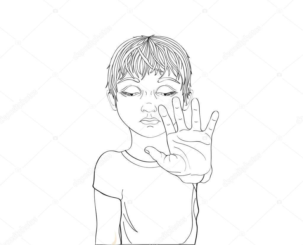 1023x828 Unhappy Boy Showing Hand Sign Enough. Against Violence. Stop