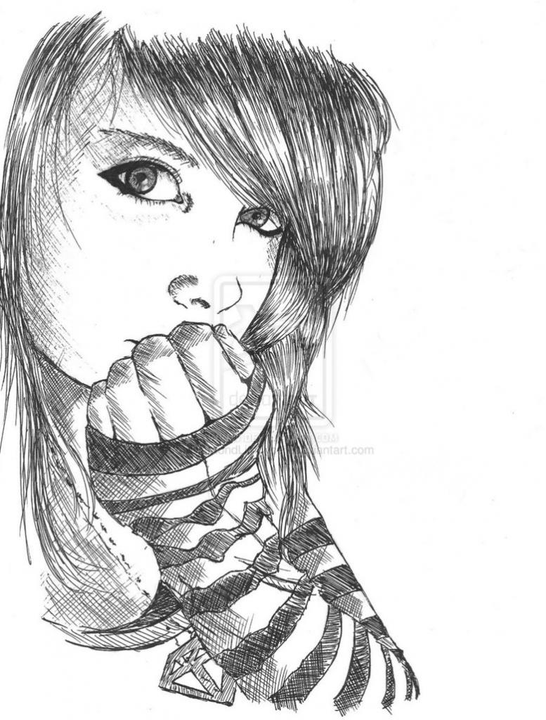 777x1024 sad alone girl drawing
