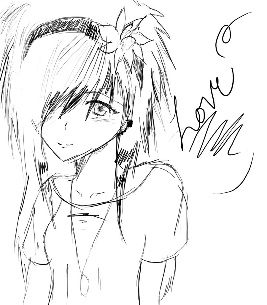 900x1029 Easy Anime Drawings Emo Love Sketch By ~thelovelyproblem