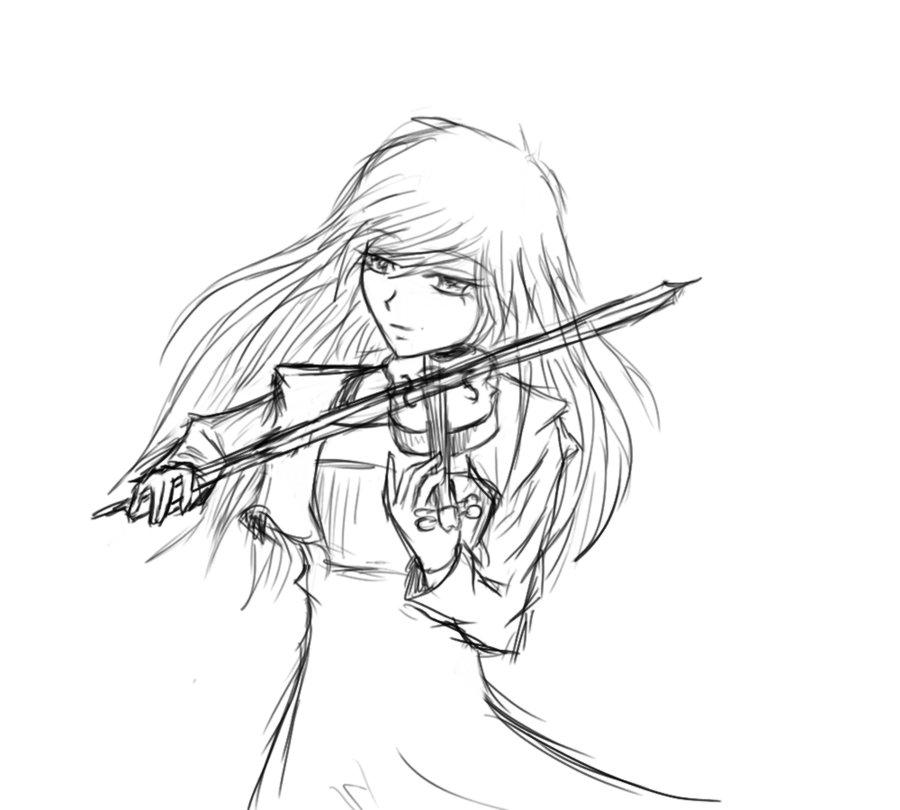 900x810 Anime Girl Playing Violin Drawing Girl Playing Violin Clip Art