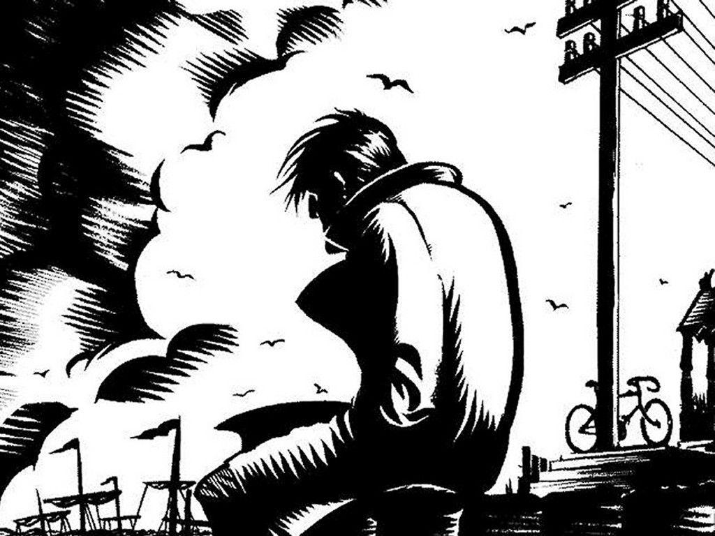 1024x768 Sad Alone Boy Sketch Images Alone Boy In The Rain Pencil Sketch