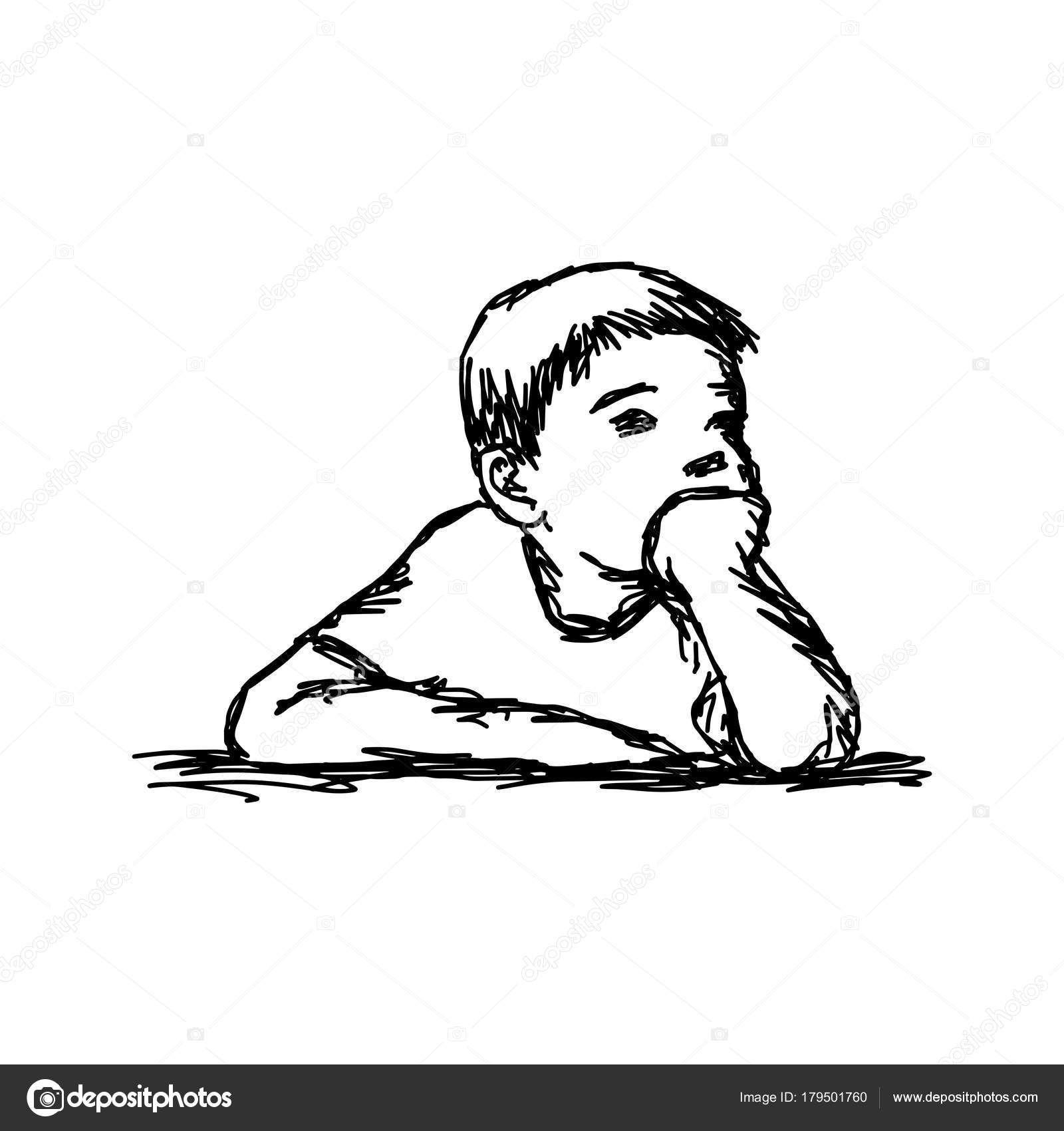 1600x1700 Boy Thinking With Resting Chin Vector Illustration Outline Sketch