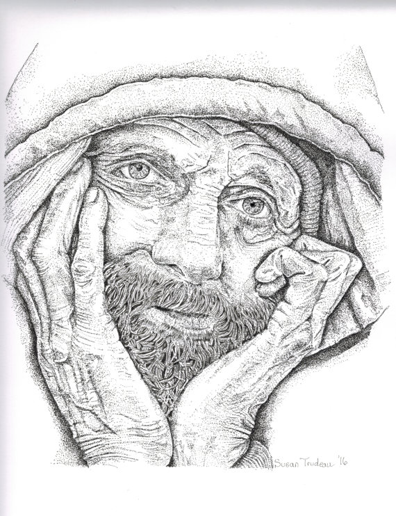 570x742 Art Print Pen And Ink Sad Homeless Man In By Desertsuesshop