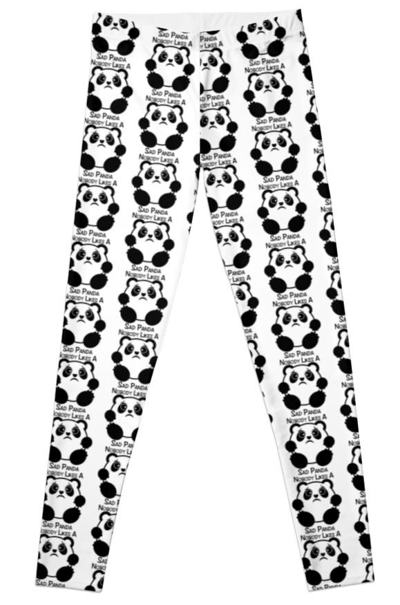 579x875 Nobody Likes A Sad Panda Leggings By Sirleetees Redbubble