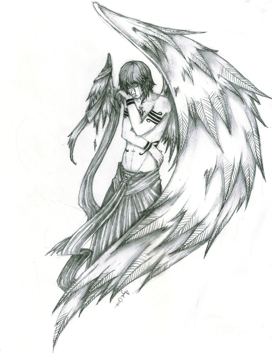 900x1171 Drawn Sketch Broken Angel