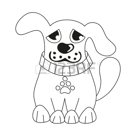 450x450 Cartoon Puppy, Vector Illustration Of Cute Dog Wearing Collar