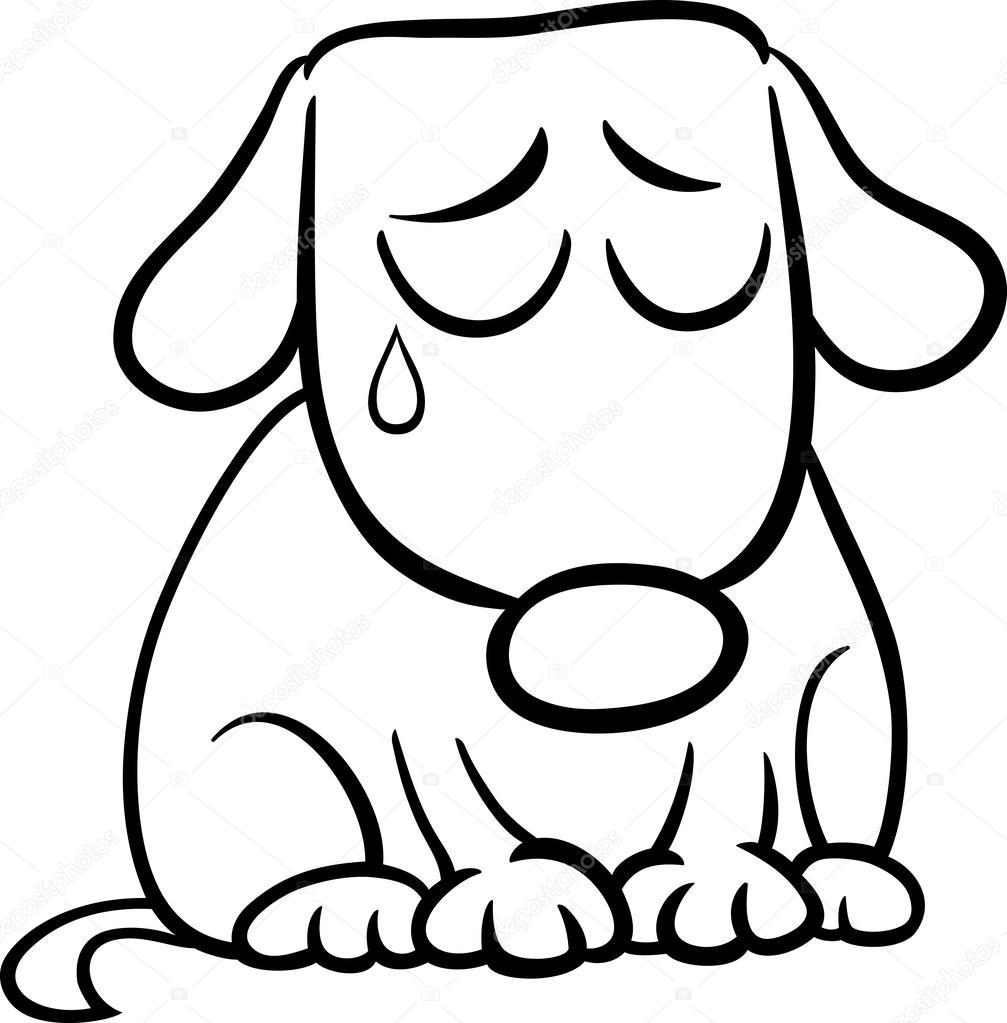 1007x1023 Sad Dog Cartoon Coloring Page Stock Vector Izakowski