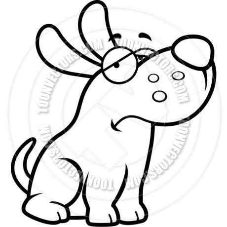 460x460 Cartoon Puppy Dog Sad (Black And White Line Art) By Cory Thoman