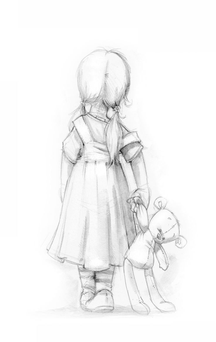 736x1168 Pencil Sketches Of A Small Girl Crying Crying Girl With Teddy Bear